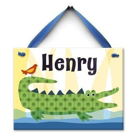 Crocodile Kid Wall Tile-Personalized Wall Tile-Default-Jack and Jill Boutique
