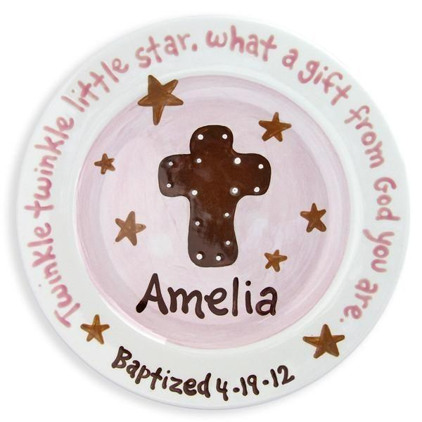 Cross and Stars Girls Hand-Painted Ceramic Plate-Ceramic Plate-Jack and Jill Boutique