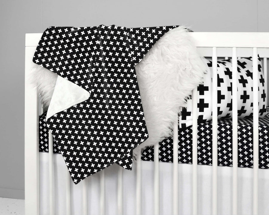 Black Cross Crib Bedding Set