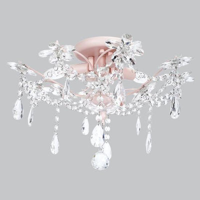 Crystal Flower Three-Light Semi Flush Mount