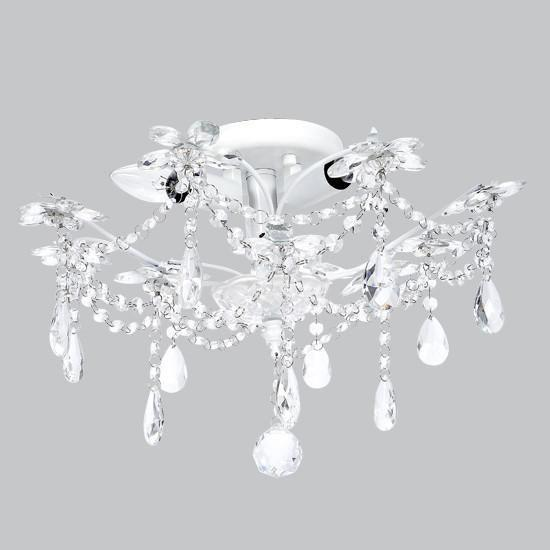 Crystal Flower Three-Light Semi Flush Mount-Chandeliers-White-Jack and Jill Boutique