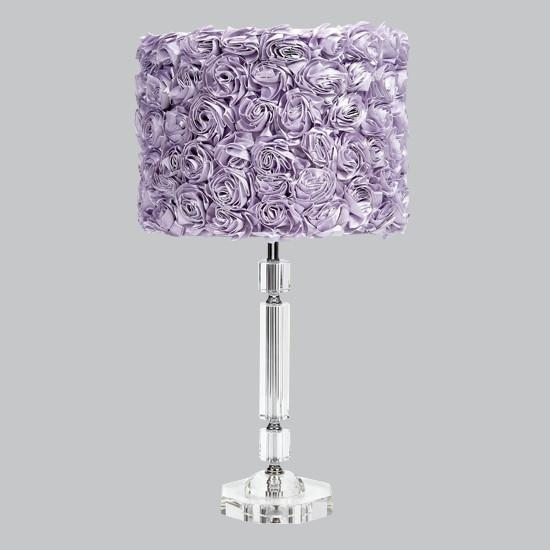 Crystal Slender Lamp with Lavender Rose Garden Drum Shade-Table Lamp-Default-Jack and Jill Boutique