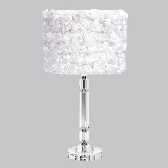 Crystal Slender Lamp with White Rose Garden Drum Shade-Table Lamp-Default-Jack and Jill Boutique