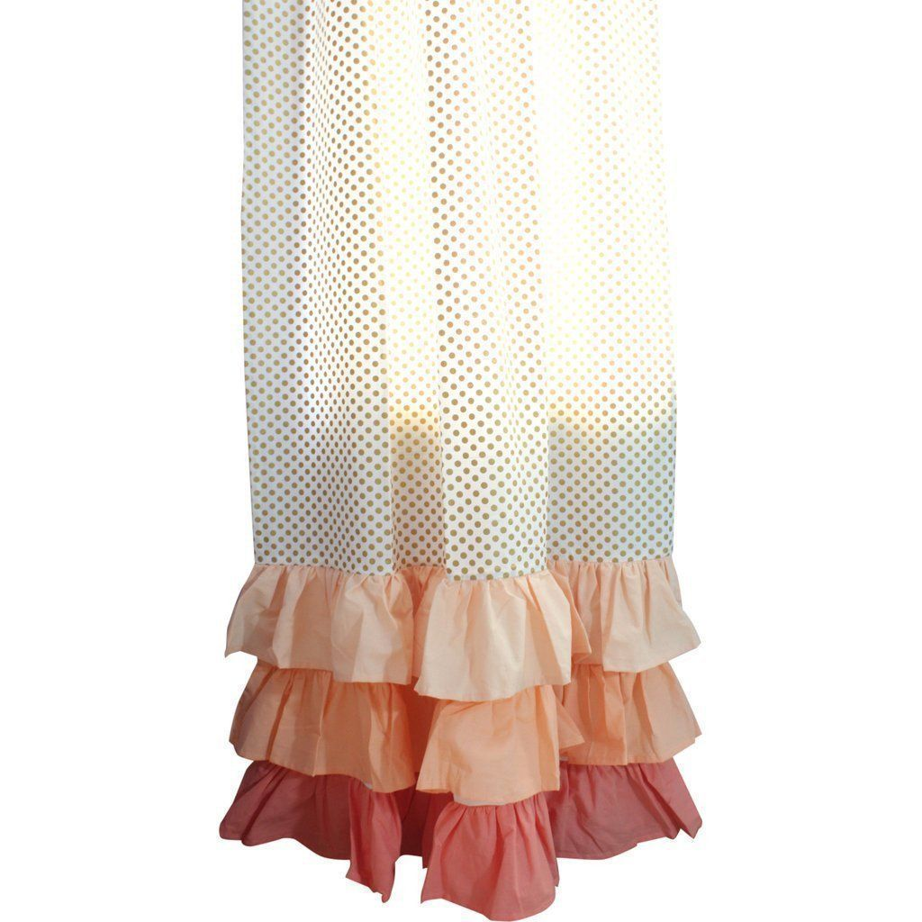 Curtain Panel Pair | Gold Dots Flat or Coral Ruffled-Curtain Panels-84-Standard-Ruffled Tiers-Jack and Jill Boutique