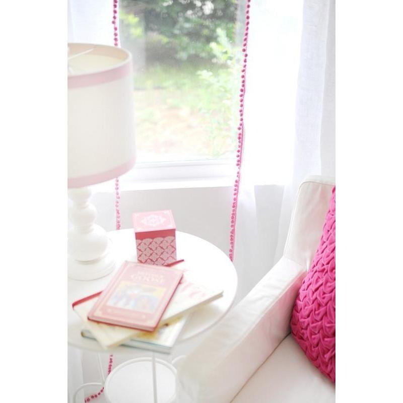 Curtain Panel | Soft Whisper Linen and Pom Pom (Pink, Blue, Gray, Coral and more)-Curtain Panels-Snow-Cotton-Pink-Jack and Jill Boutique