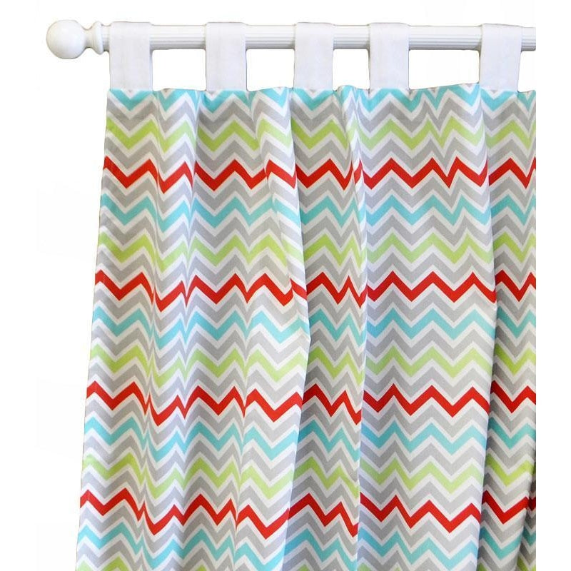Curtain Panels | Aqua Chevron Jellybean Parade-Curtain panels-Default-Jack and Jill Boutique