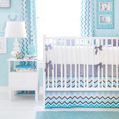 Curtain panels | Aqua & Gray Chevron Piper in Gray-Curtain Panels-Default-Jack and Jill Boutique
