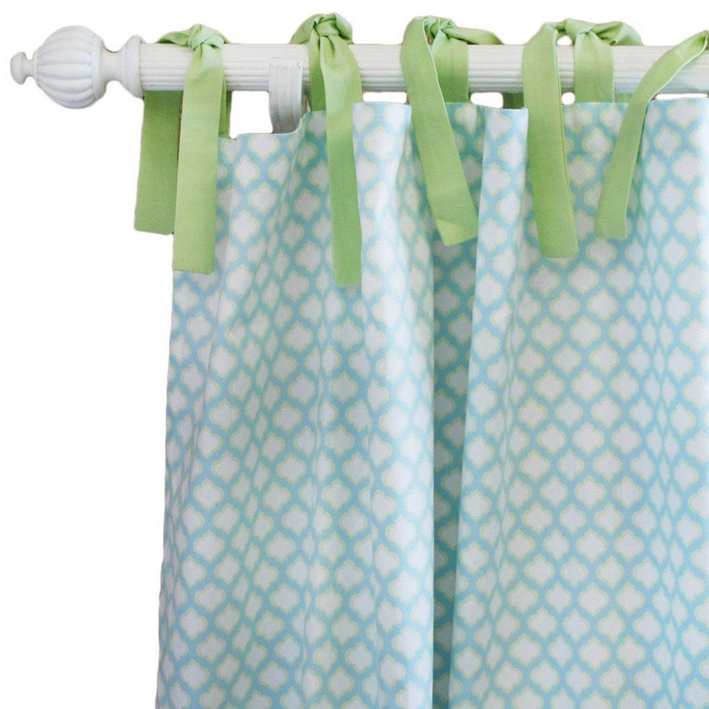 Curtain panels | Aqua & Green Sprout-Curtain Panels-New Arrivals-Jack and Jill Boutique