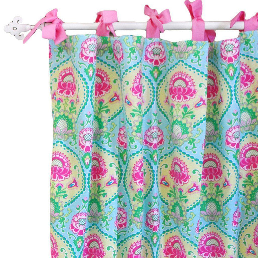 Curtain panels | Aqua & Pink Floral Layla Rose-Curtain Panels-Default-Jack and Jill Boutique