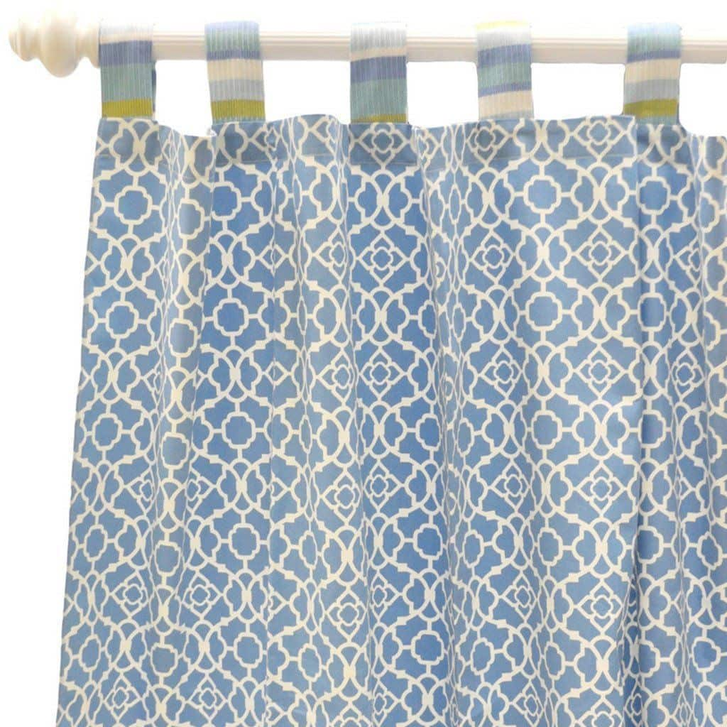 Curtain panels | By The Bay Baby Blue White and Green-Curtain Panels-Default-Jack and Jill Boutique