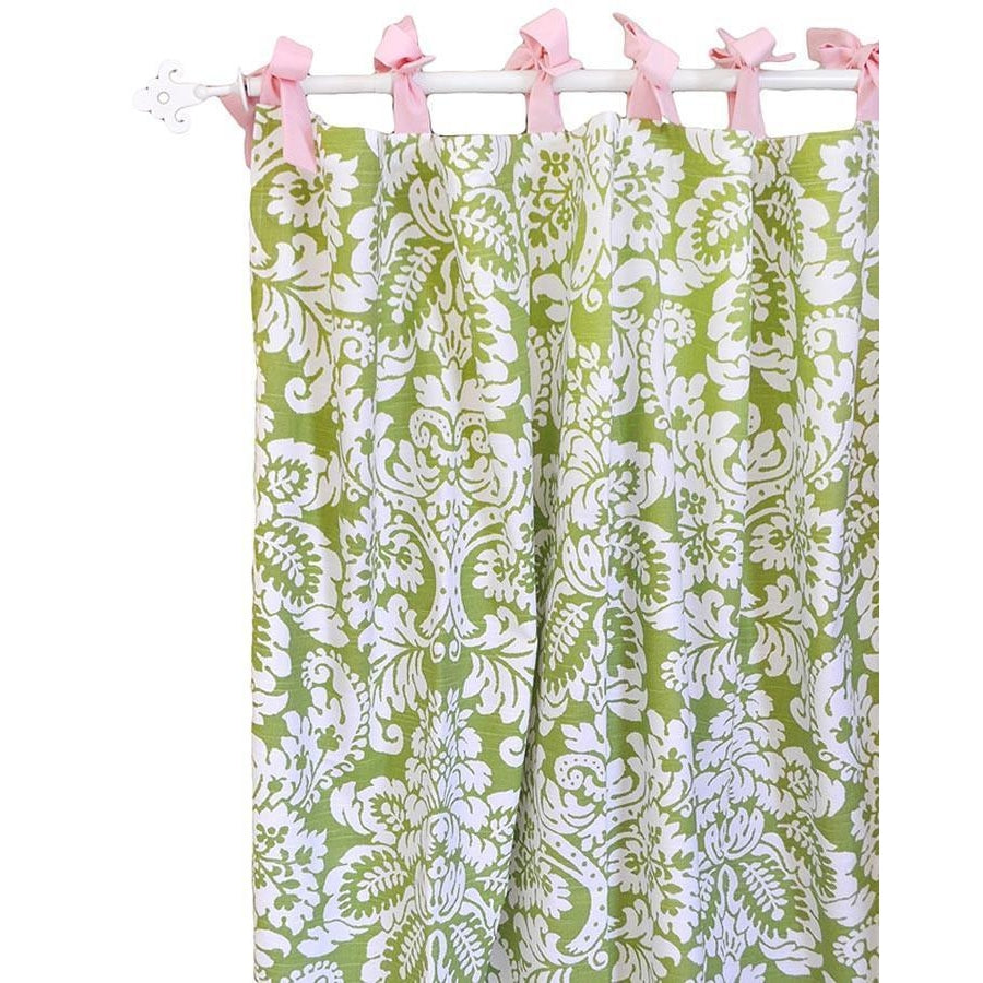Curtain Panels | Green Damask Bloom in Apple-Curtain Panels-Default-Jack and Jill Boutique