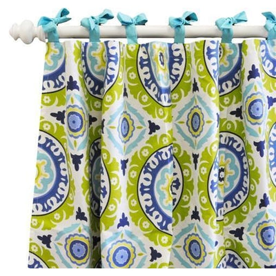 Curtain panels | Indigo Summer Aqua and White-Curtain Panels-Default-Jack and Jill Boutique