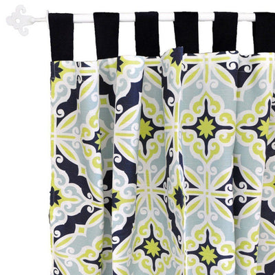 Curtain panels | Lime Green & Navy Starburst in Kiwi-Curtain Panels-Default-Jack and Jill Boutique