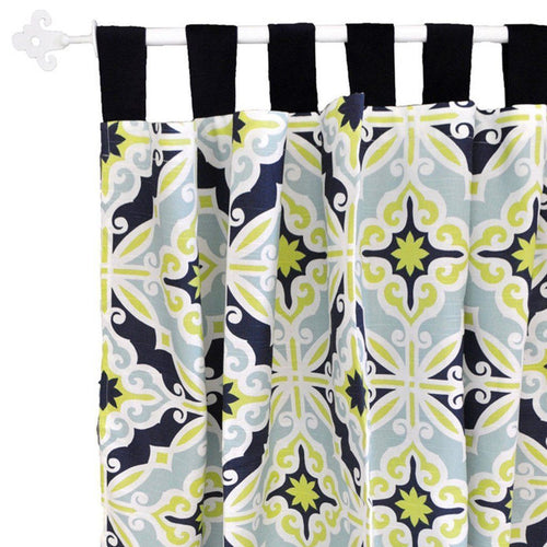 Curtain panels | Lime Green & Navy Starburst in Kiwi-Curtain Panels-New Arrivals-Jack and Jill Boutique