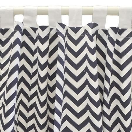 Curtain Panels | Navy Chevron-Curtain panels-Default-Jack and Jill Boutique