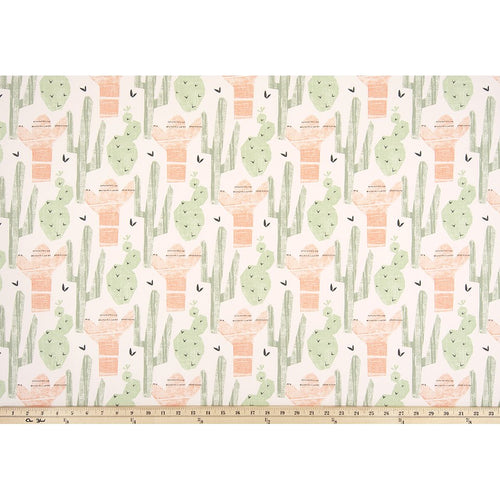 Curtain Panels Pair with Lining | Cactus Fabric Print-Curtain Panels-Sundown-Jack and Jill Boutique