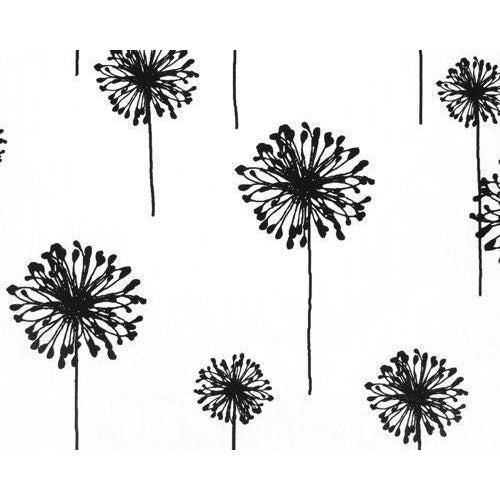 Curtain Panels Pair with Lining | Dandelion Floral Print-Curtain Panels-Bold Bedding-White/Black-Jack and Jill Boutique