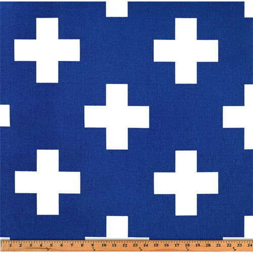 Curtain Panels Pair with Lining | Large Swiss Cross Fabric Print-Curtain Panels-Cobalt/White-Jack and Jill Boutique