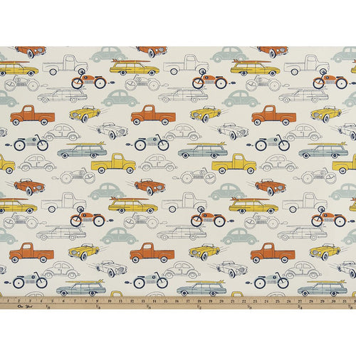 Curtain Panels Pair with Lining | Retro Rides Fabric Print-Curtain Panels-Maya Macon-Jack and Jill Boutique