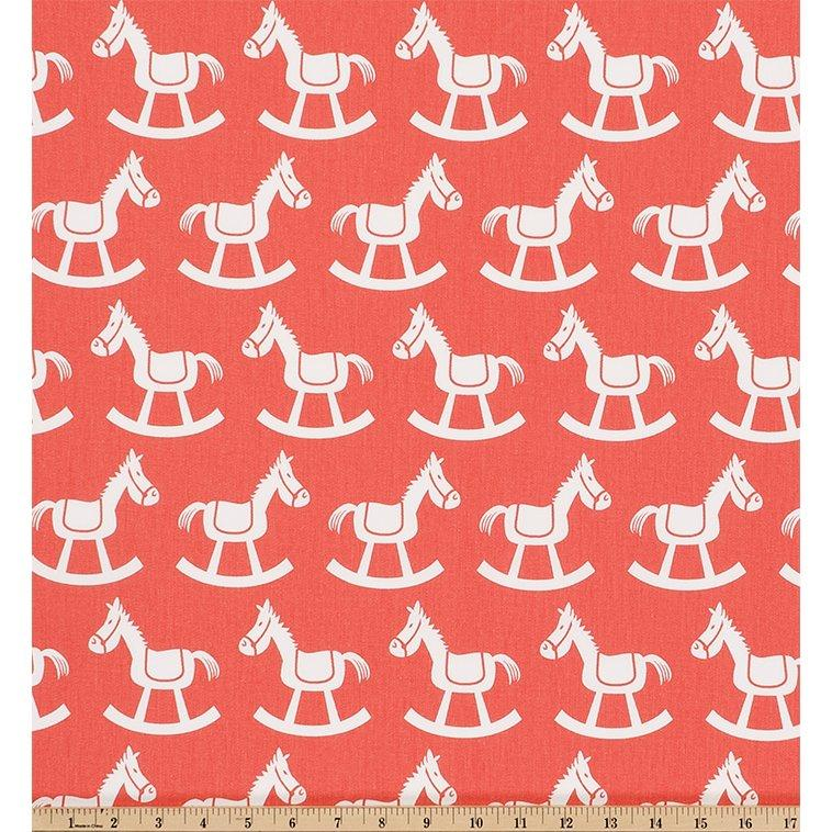 Curtain Panels Pair with Lining | Rocking Horse Fabric Print-Curtain Panels-Coral/White Twill-Jack and Jill Boutique