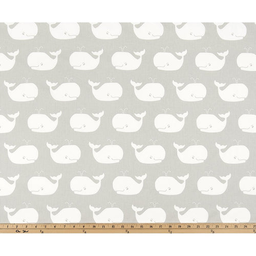 Curtain Panels Pair with Lining | Whale Tales Fabric Print-Curtain Panels-French Grey/White twill-Jack and Jill Boutique