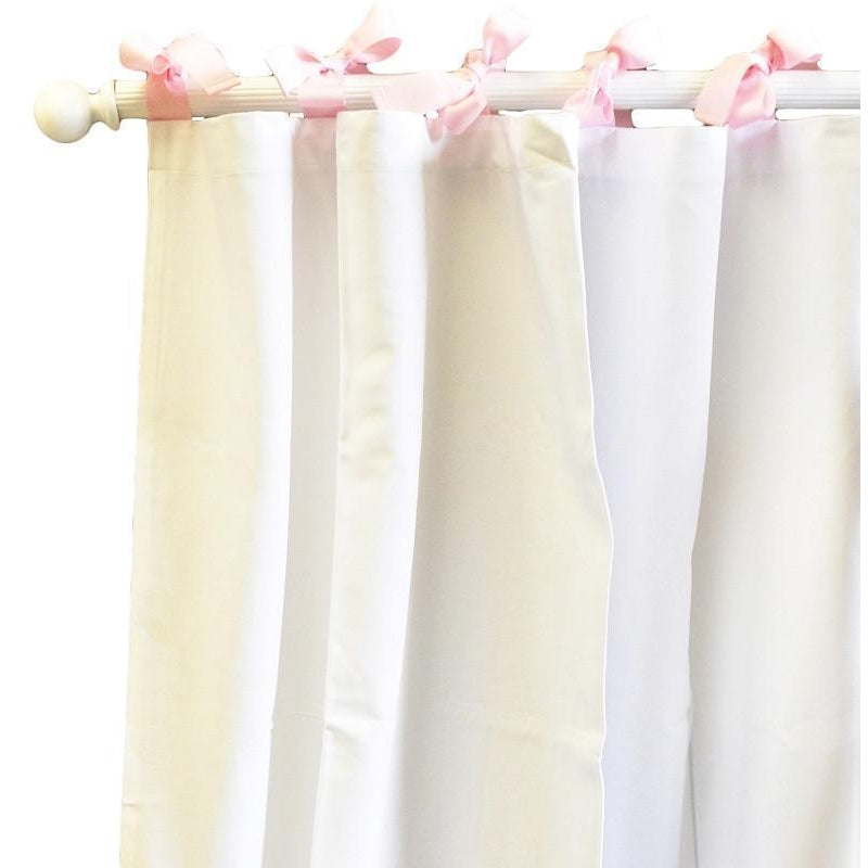 Curtain Panels | White Pique in Pink-Curtain Panels-Default-Jack and Jill Boutique