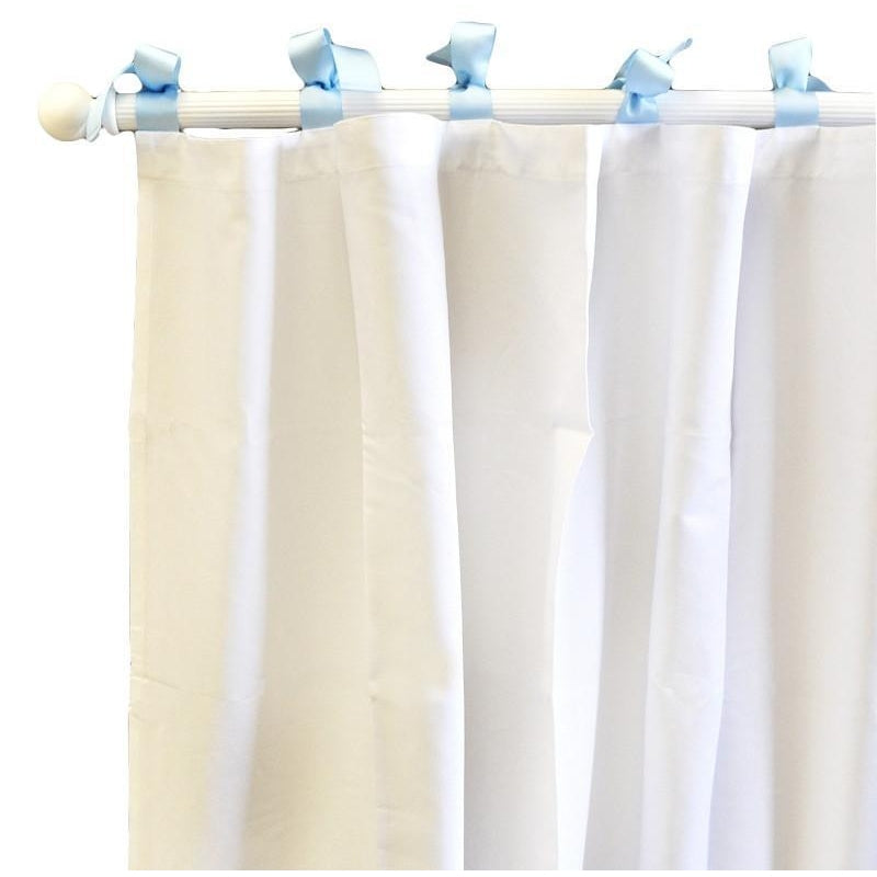 Curtain panels | White Pique with Blue Trim-Curtain Panels-New Arrivals-Jack and Jill Boutique