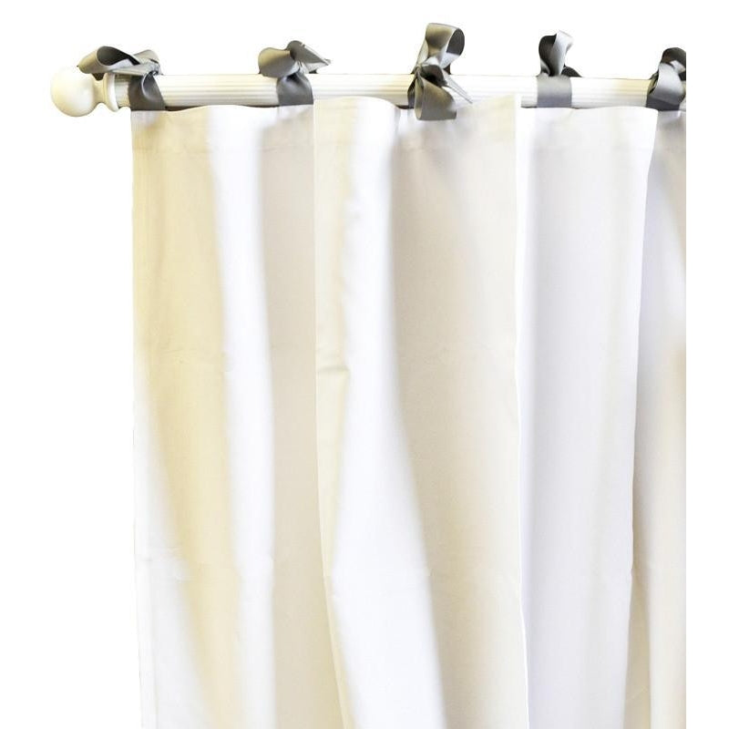 Curtain Panels | White Pique with Gray Trim-Curtain Panels-Default-Jack and Jill Boutique