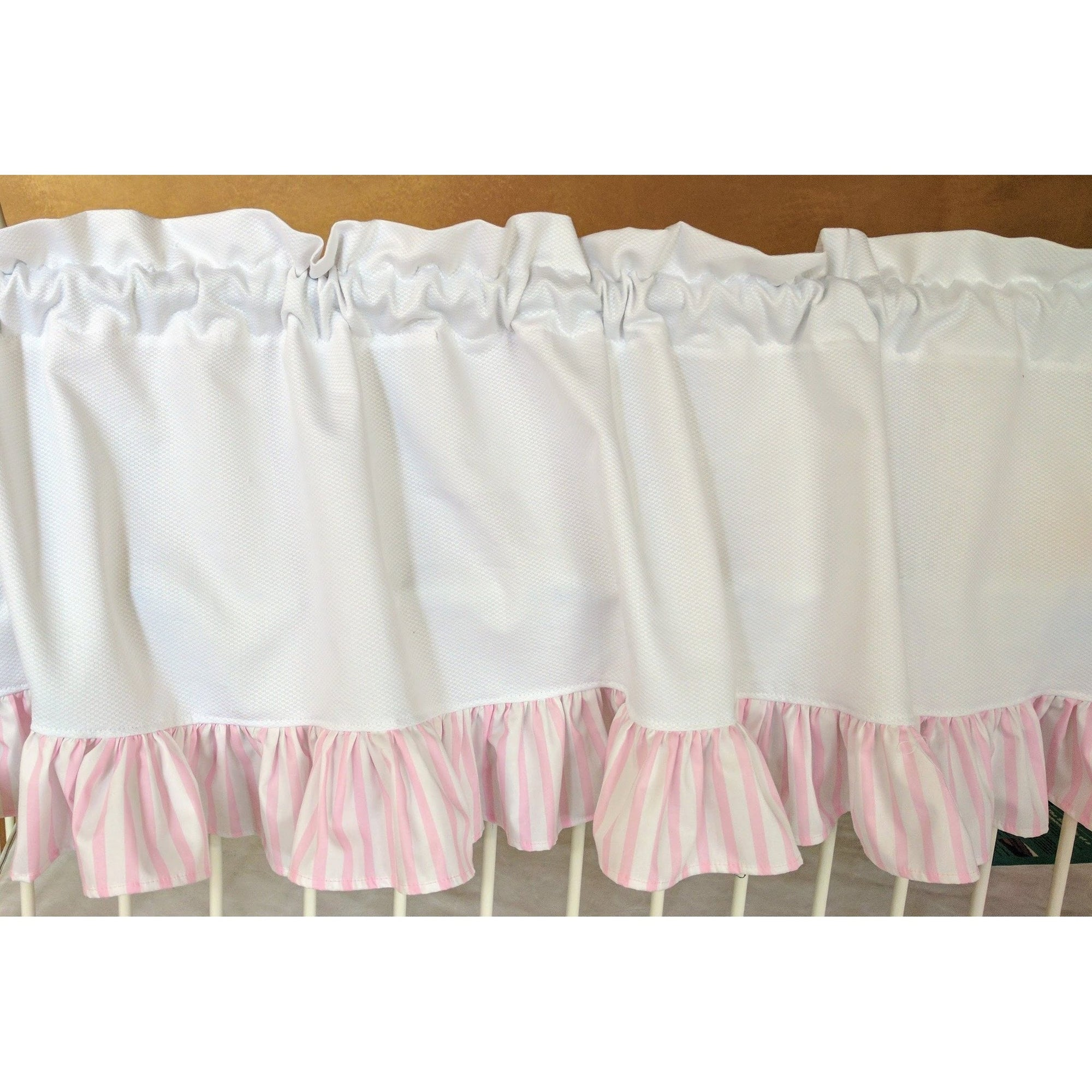 Curtain Panels | White Pique with Pink Stripe Ruffles-Curtain Panels-Jack and Jill Boutique