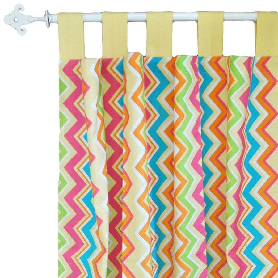 Curtain panels | Yellow & Pink Chevron Sunnyside Up