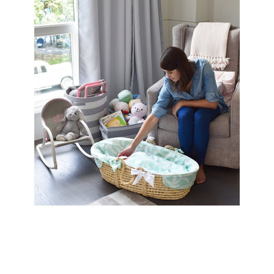 Baby Blue Gingham Moses Basket for Infant-Moses Basket-Jack and Jill Boutique