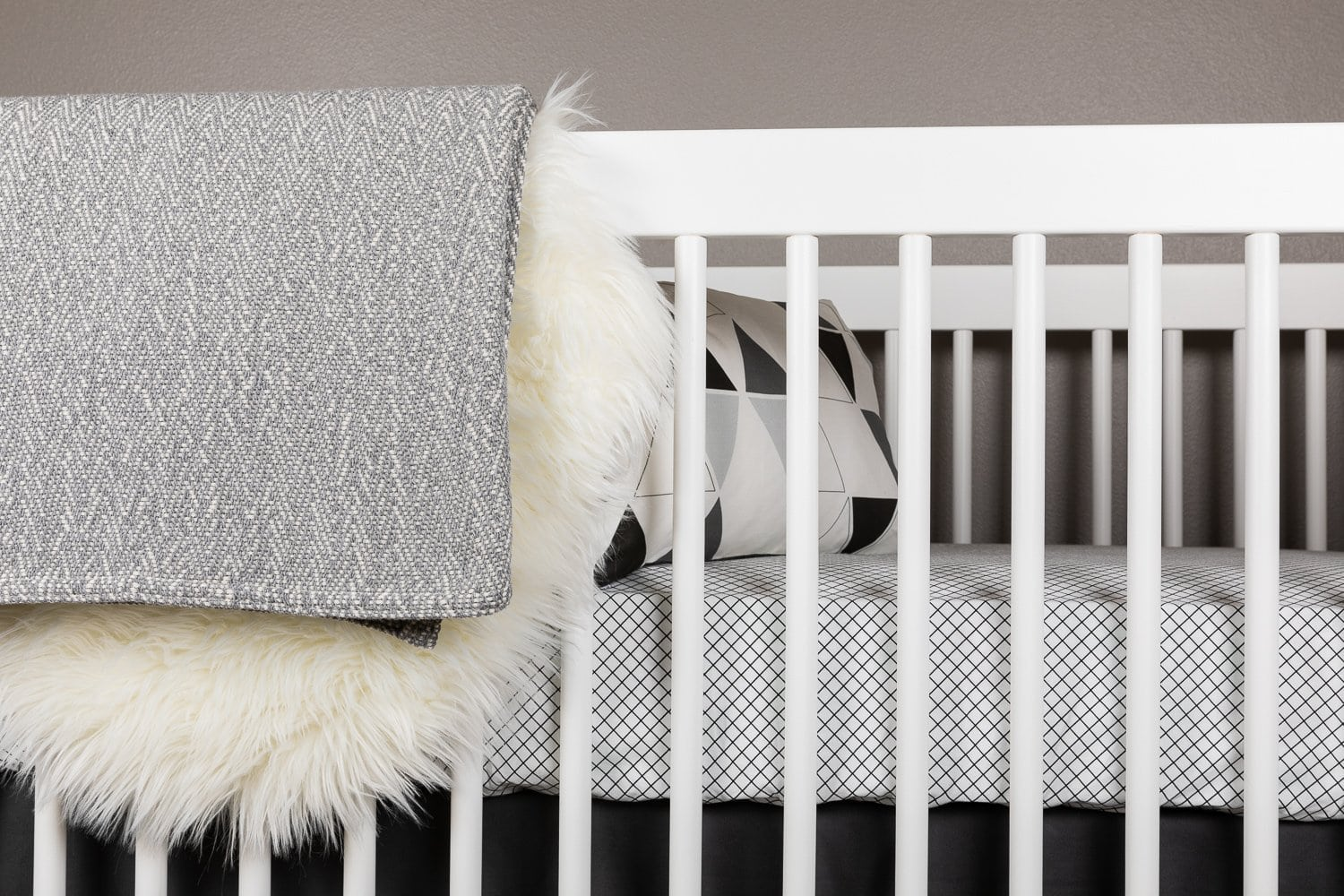 Grid Crib Bedding Set Black and White-Crib Bedding Set-Jack and Jill Boutique