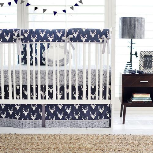Navy Boy Woodland Deer Bedding Set-Crib Bedding Set-Jack and Jill Boutique