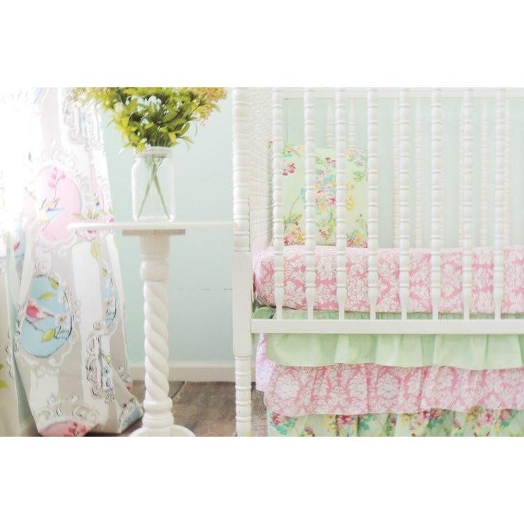 Damask Floral Prints Baby Bedding | Mint, Pink Crib Bedding Set