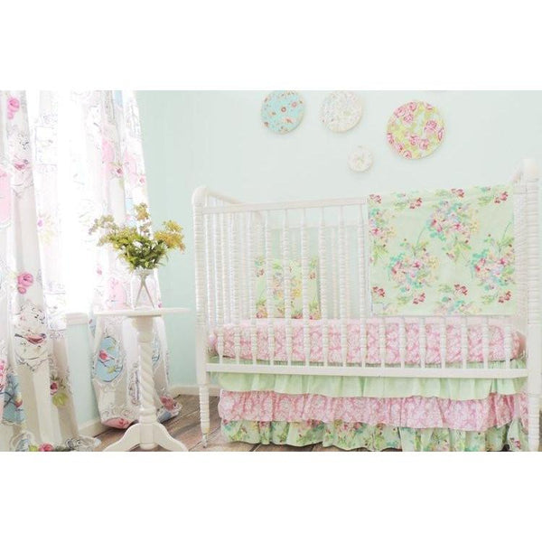 Damask Floral Prints Baby Bedding Mint Pink Crib