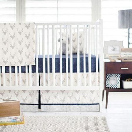 Deer Buck Forest in Silver Baby Bedding Set-Crib Bedding Set-Default-Jack and Jill Boutique
