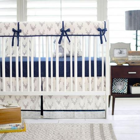 Deer Buck Forest in Silver Baby Bedding Set-Crib Bedding Set-Jack and Jill Boutique