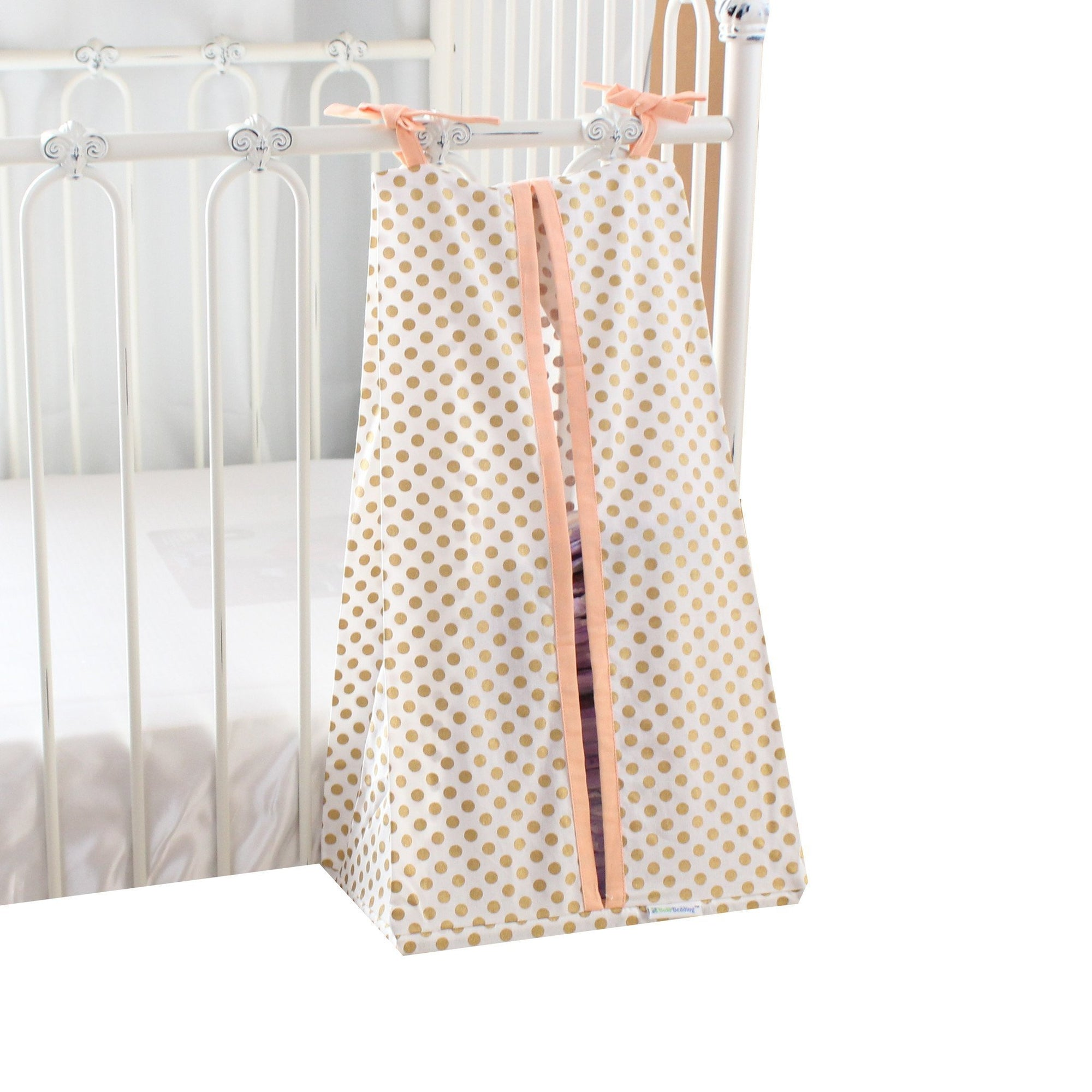 Diaper Stacker | Metallic Gold Dots with Coral, White or Mint Edging-Diaper Stacker-Coral-Jack and Jill Boutique