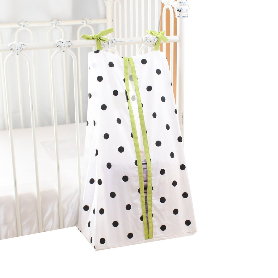 Diaper Stacker | Onyx Dots on White and Lime Edging-Diaper Stacker-Default-Jack and Jill Boutique