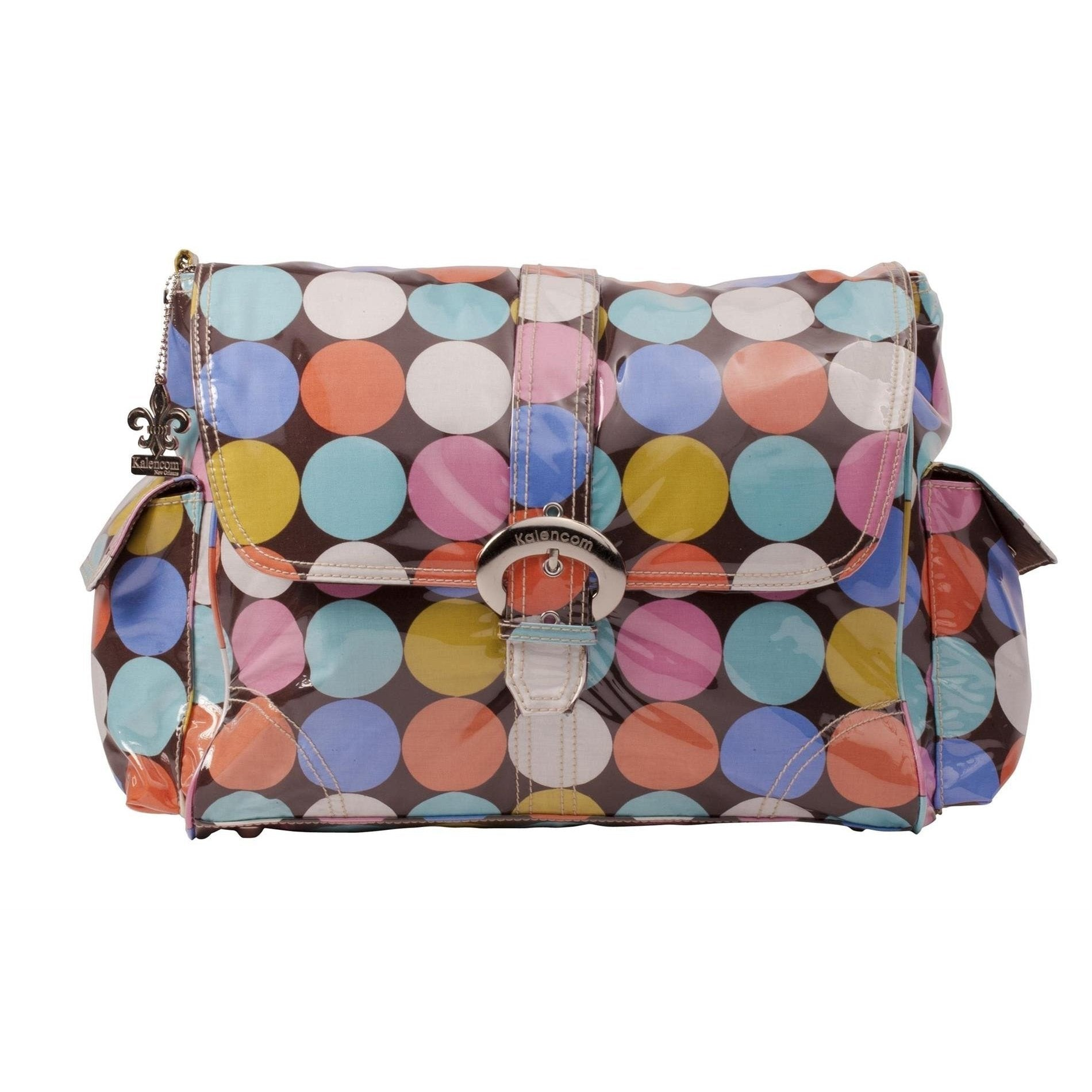 Disco Dots Cocoa Laminated Buckle Diaper Bag | Style 2960 - Kalencom-Diaper Bags-Jack and Jill Boutique