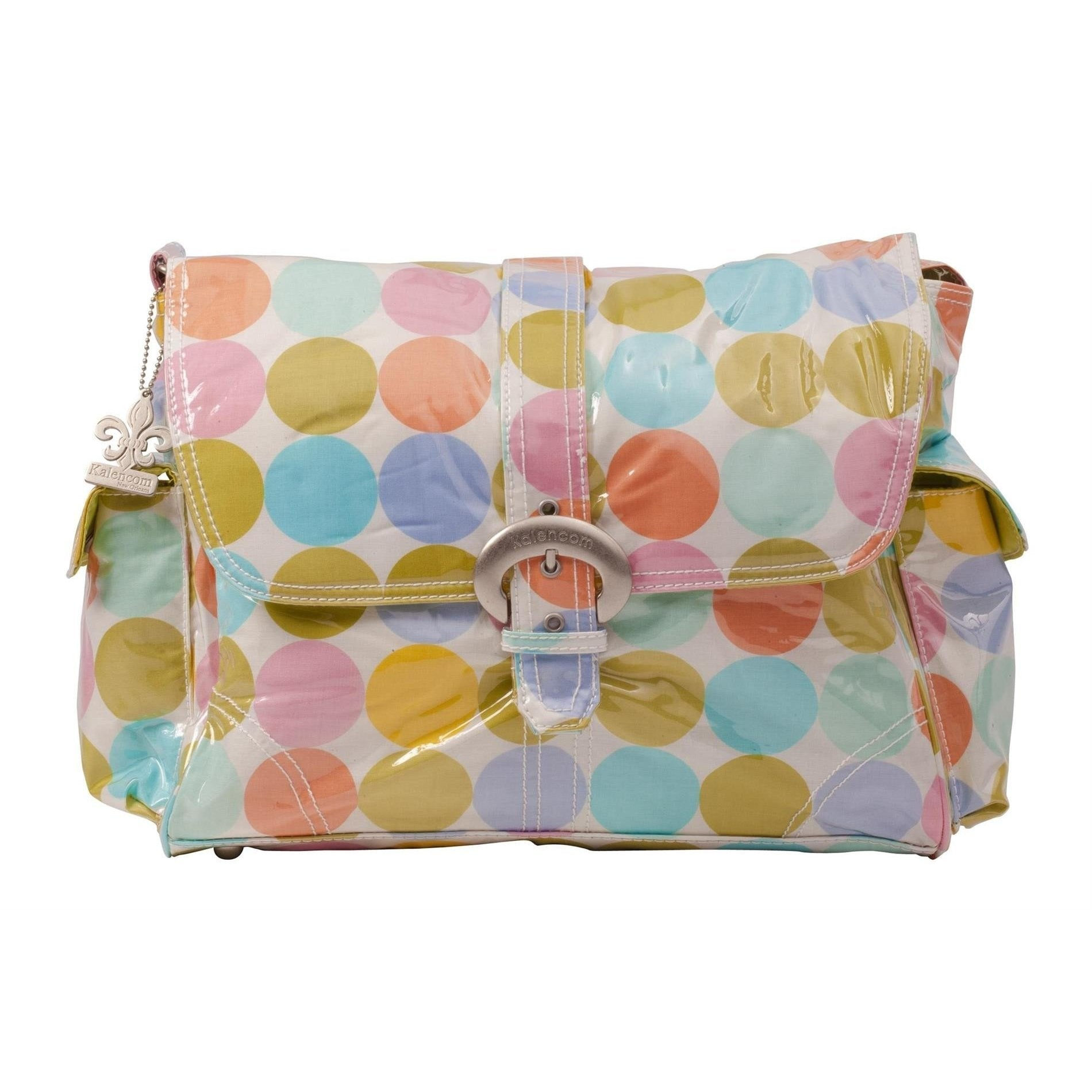 Disco Dots Cream Laminated Buckle Diaper Bag | Style 2960 - Kalencom-Diaper Bags-Jack and Jill Boutique
