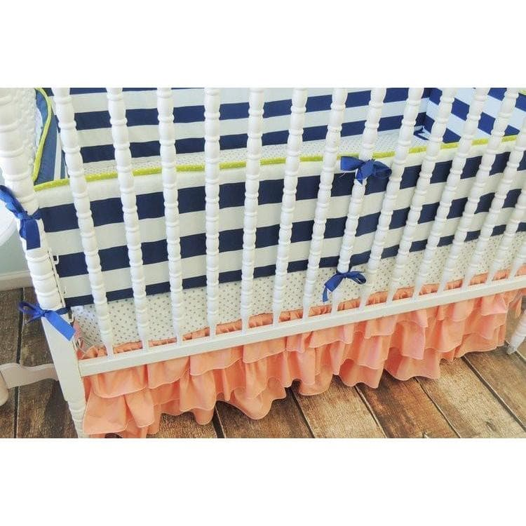 Dot Tiered Baby Bedding | Navy Blue, Coral Crib Bedding Set-Crib Bedding Set-Default-Jack and Jill Boutique