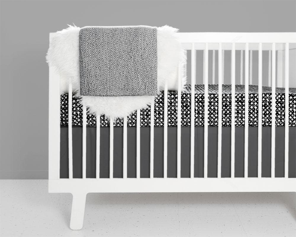 Swirl Crib Bedding Set - Black and White-Crib Bedding Set-Jack and Jill Boutique