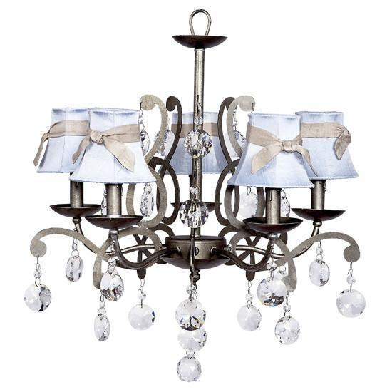Elegance Pewter Five-Light Chandelier with Blue Shades and Champagne Sashes-Chandeliers-Default-Jack and Jill Boutique