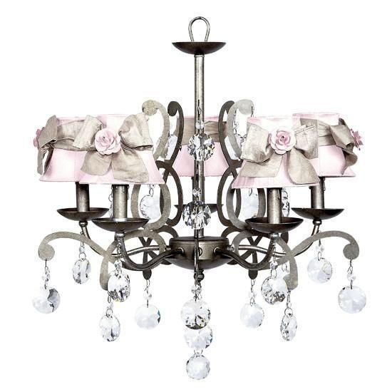 Elegance Pewter Five-Light Chandelier with Pink Shades and Champagne Sashes with Pink Roses-Chandeliers-Default-Jack and Jill Boutique