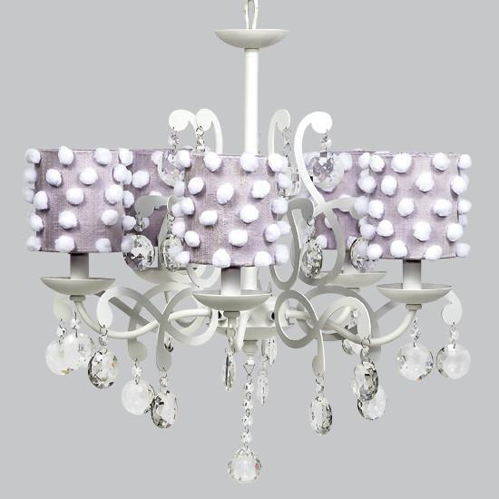 Elegance White Five Light Chandelier with Lavender Drum Shades-Chandeliers-Default-Jack and Jill Boutique