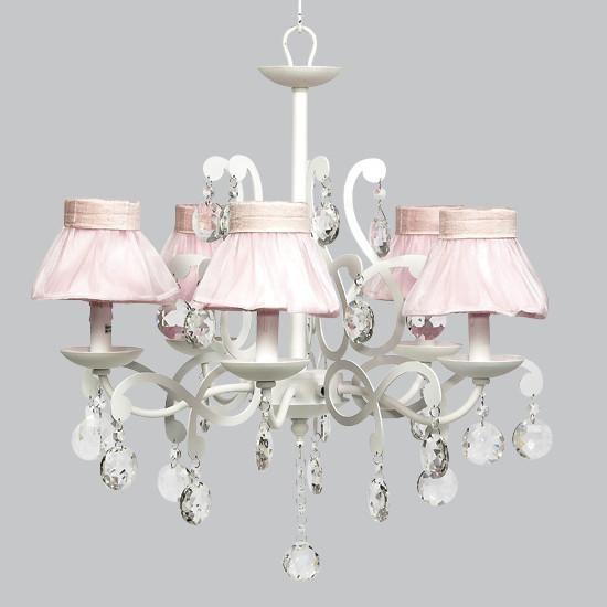 Elegance White Five Light Chandelier with Pink Ruffled Sheer Skirt-Chandeliers-Default-Jack and Jill Boutique