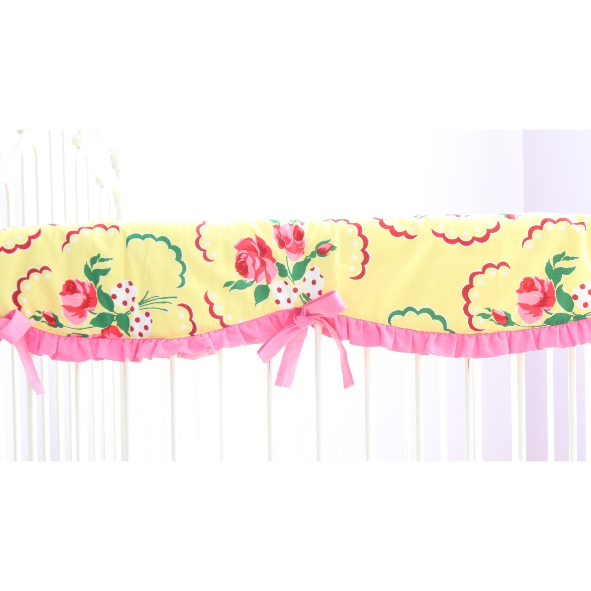 Emma's Yellow and Pink Floral Crib Rail Cover | Bold Bedding-Crib Rail Cover-Jack and Jill Boutique