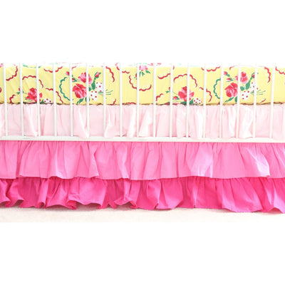 Emma's Yellow and Pink Floral Curtain Panel With Ruffles | Bold Bedding-Curtain Panels-Jack and Jill Boutique