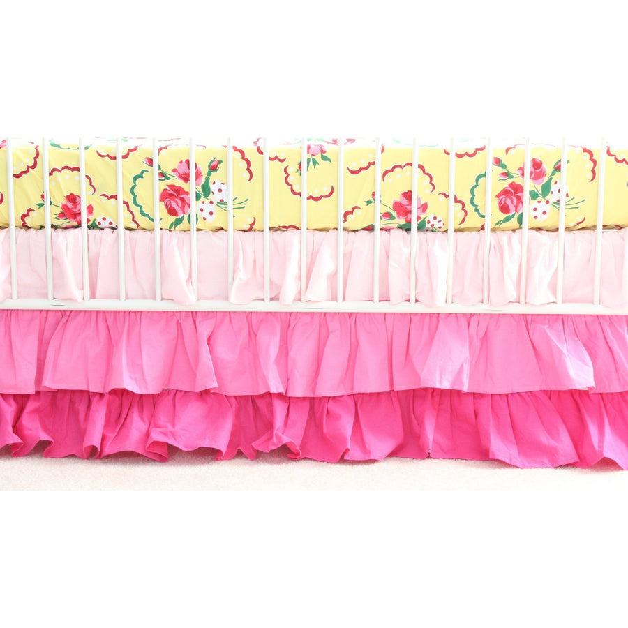 Emma's Yellow and Pink Floral Curtain Panel With Ruffles | Bold Bedding